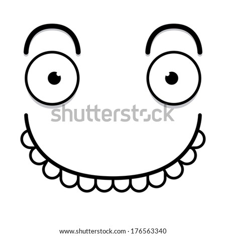Vector Cute Cartoon White Happy Face  - stock vector