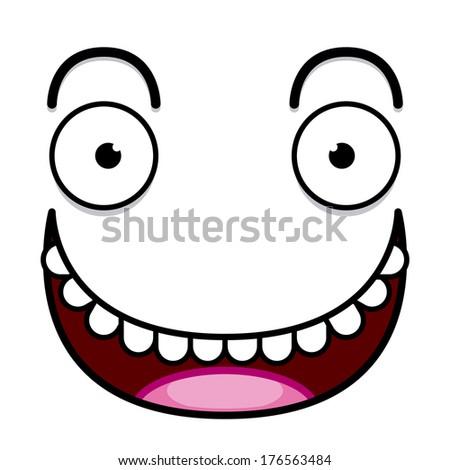 Vector Cute Cartoon White Happy Face - stock vector