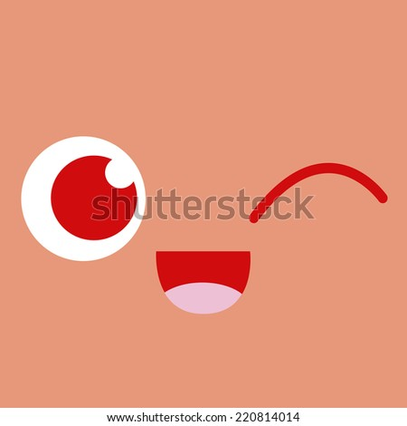 Vector Cute Cartoon Winking Face Editable - stock vector