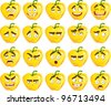 Vector cute cartoon yellow Bulgarian pepper smile with many expressions - stock vector