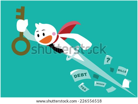 vector cute character businessman as superhero and the key of solution, successful and money management concepts - stock vector