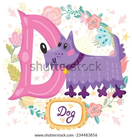 vector cute children animals alphabet letter stock vector 234483856