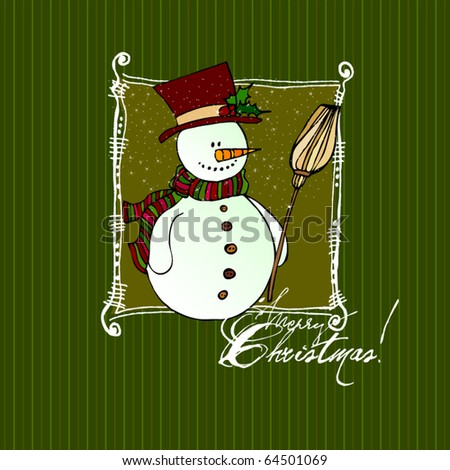 vector cute Christmas background for your greeting card - stock vector