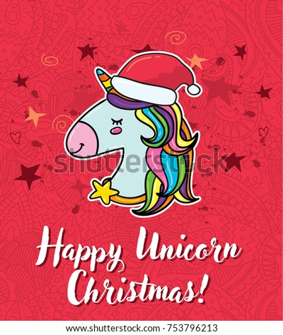 Vector cute christmas greeting card magic stock photo photo vector vector cute christmas greeting card with magic unicorn horse in santa red hat m4hsunfo Images