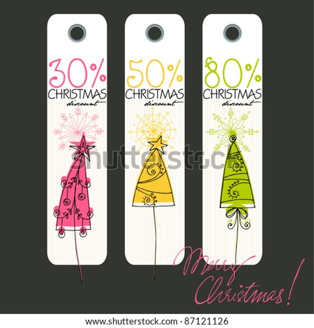 vector cute Christmas price tags with illustrated Christmas trees - stock vector