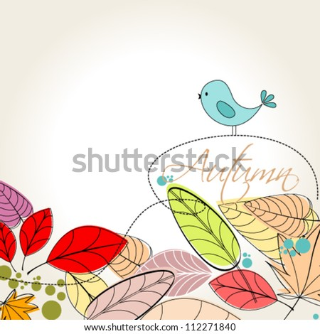Vector cute, colorful, hand drawn style autumn leaves and bird background illustration - stock vector
