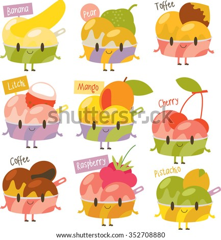 vector cute comic cartoon ice-cream flavors. Labels stickers avatars or menu illustrations. Banana, pear, toffee, litchi, mango, cherry, coffee, raspberry, pistachio. - stock vector