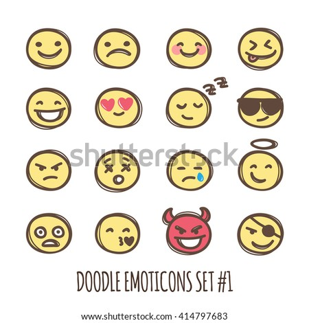 Vector cute doodle style emoticons collection. Colored emoji set. Emotion icons.