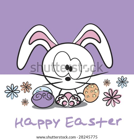 Vector cute Easter bunny with decorated Easter eggs and Happy Easter text - stock vector
