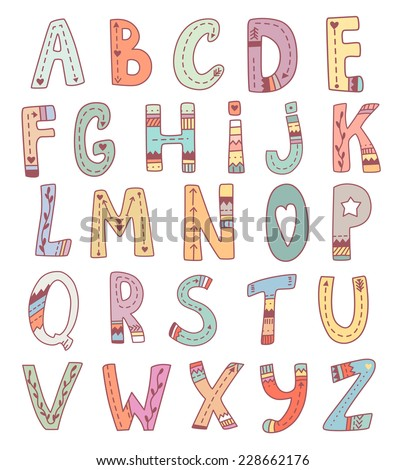 Vector Cute English Alphabet Funny Tribal Hand Drawn Letters For Children Education