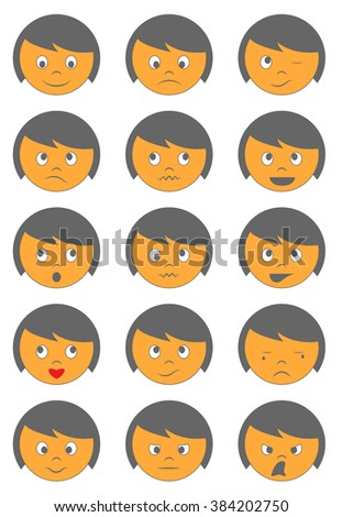 Vector cute face emoticons on white background - stock vector