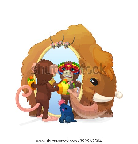 vector cute Fairy Cartoon illustration. ABC letter M: mammoth, monkey, mole, mouse. Colorful print art Friendly team. Clip art isolated on white background. EPS 10 without mesh  - stock vector