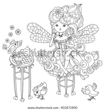 Vector cute fairy girl in flowers tea drinking.Vector line illustration.Sketch for postcard or print or coloring adult book.Boho zentangle style doodle. - stock vector