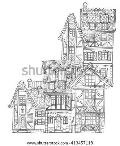 Vector cute fairy tale town doodle.Vector line illustration.Sketch for postcard or print or coloring adult book.Boho zentangle style. - stock vector