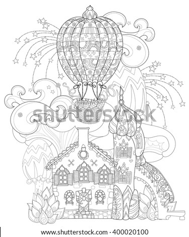 Vector cute fairy tale town doodle with mushrooms and balloon.Vector line illustration.Sketch for postcard or print or coloring adult book.Boho hand drawn style.Fantastic mystical city landscape - stock vector
