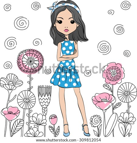 Vector Cute fashion girl in pink and blue summer dress with polka dot pattern in the style of the sixties - stock vector