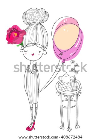 Vector cute fashion girl  with air balloon.Vector line illustration.Sketch for postcard or print or coloring adult book.Hand drawn boho free style doodle. - stock vector