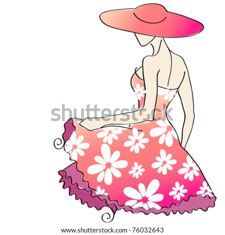 Vector cute floral girl with hat - summer illustration - stock vector