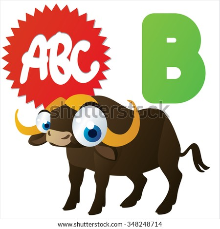 Vector cute funny colorful alphabet animals: B is for Buffalo - stock vector