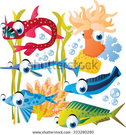 Vector cute funny colorful fish set: anemone, viper fish, needle fish, plant, tile fish, drift fish, coryphaena - stock vector