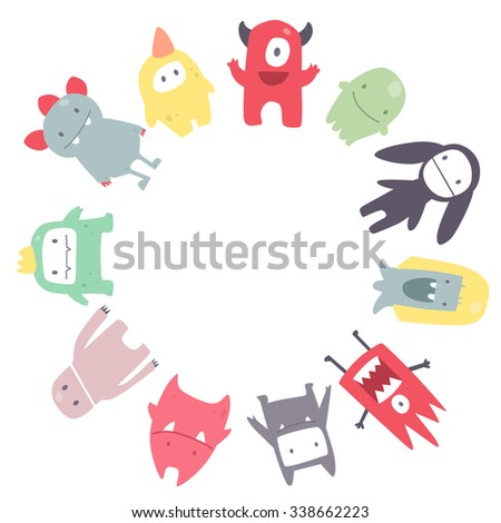 Vector cute funny monsters set collection like a circle frame
