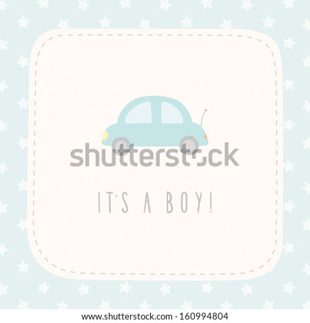 Vector cute greeting card It's a boy - stock vector
