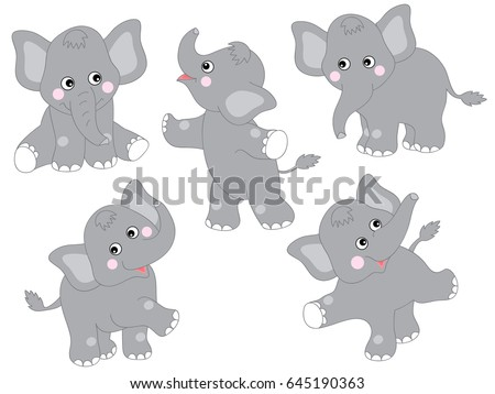 vector cute grey cartoon baby elephants stock vector royalty free
