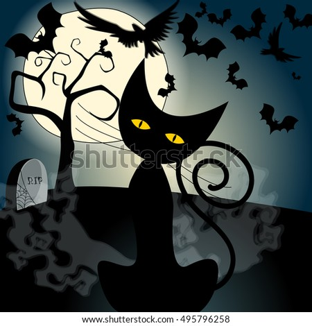 Vector cute Halloween illustration with full Moon, bats and black cat