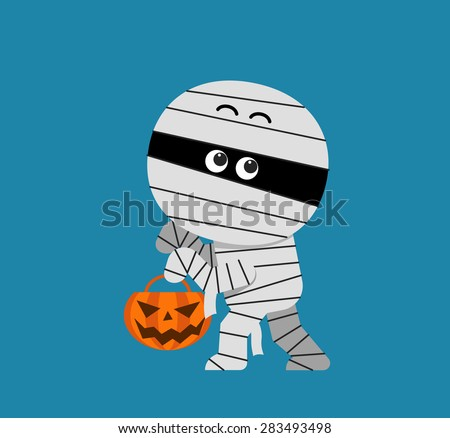 Vector cute Halloween Mummy holding pumpkin - stock vector