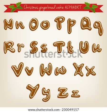 Vector cute hand drawn Christmas gingerbread cookie alphabet
