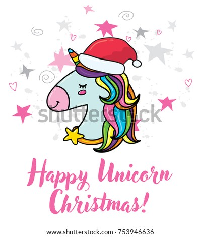 Vector cute hand drawn doodle hipster stock vector hd royalty free vector cute hand drawn doodle hipster trendy magic unicorn with santa red hat christmas greeting m4hsunfo Images