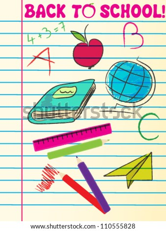 Vector cute hand drawn sketch style back to school illustration - stock vector