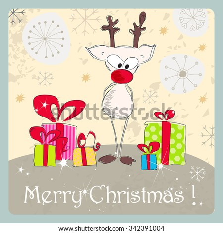Vector cute hand drawn style Christmas greeting card with reindeer and presents - stock vector
