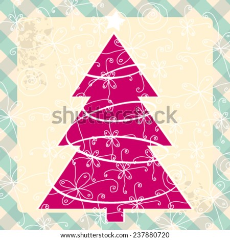 Vector cute hand drawn style Christmas greeting card with tree - stock vector
