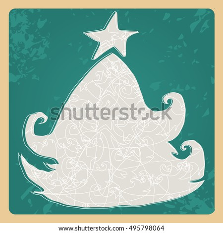 Vector cute hand drawn style Christmas greeting card with tree