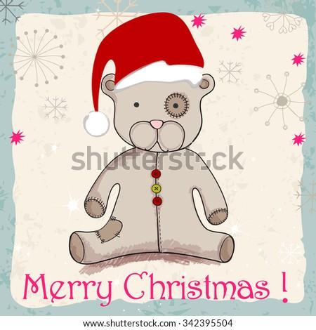 Vector cute hand drawn style Christmas teddy bear with Santa's hat - stock vector
