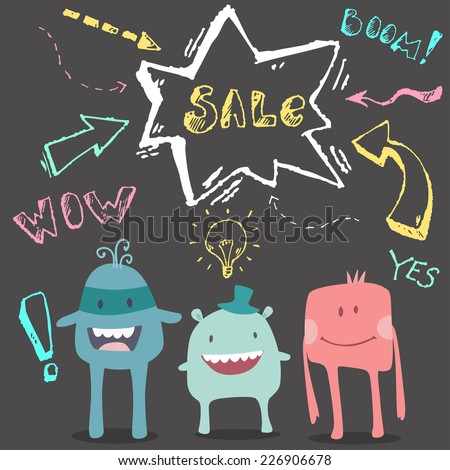 Vector cute happy monsters with bubble sale text on black chalk board - stock vector