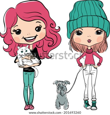 Vector Cute hipster baby girl with dog and cat - stock vector