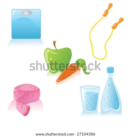 Vector cute icons of healthy lifestyle and diet - stock vector