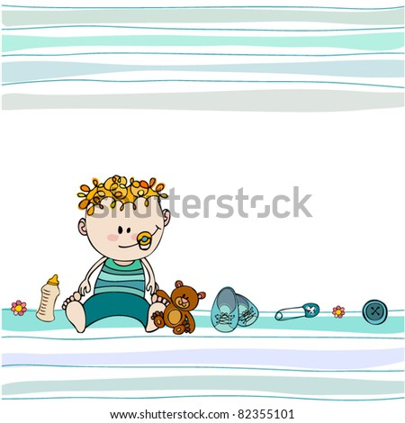 vector cute illustrated doodle Baby arrival card - stock vector