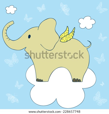 Vector cute illustration with flying elephant