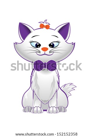 vector cute kitty character on white background, raster version available - stock vector