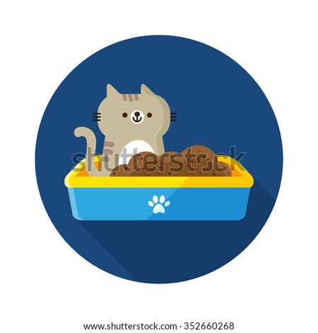vector cute little cat, tabby kitten in plastic litter / cartoon, flat / blue, yellow, circle - stock vector