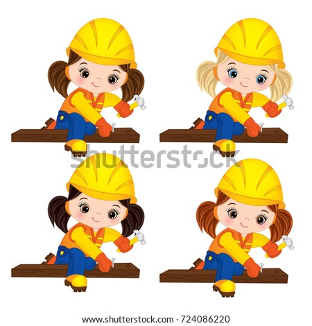 Vector cute little girls hammering nails. Vector little girls with various hair colors. Little builders vector illustration