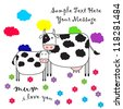 Vector cute milk cow & baby cow / Cute Greeting Card With Cow - stock vector