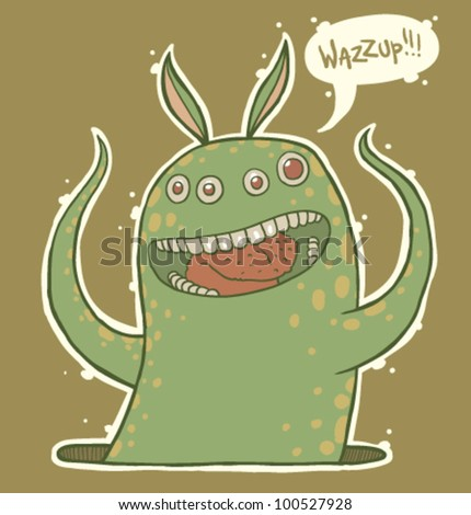 vector cute monster - stock vector