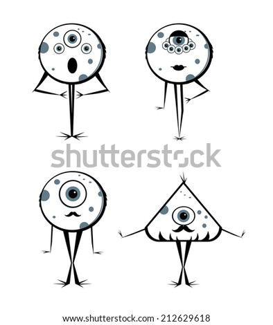 Vector Cute Monster Set  - stock vector