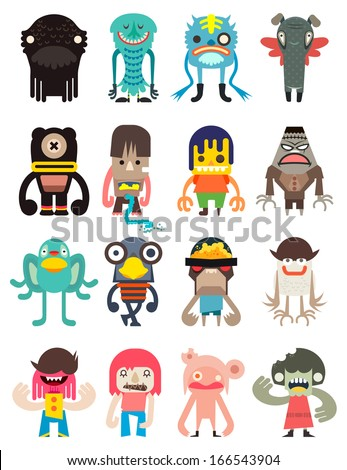 Vector cute monsters collection, illustrator cartoon set monsters. - stock vector
