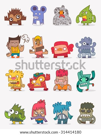 Vector cute monsters collection, illustrator cartoon set monsters - stock vector
