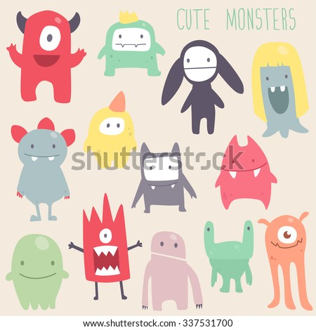 Vector cute monsters set collection isolated  - stock vector